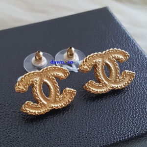 Rare Chanel Matte Gold CC Stud Earrings
